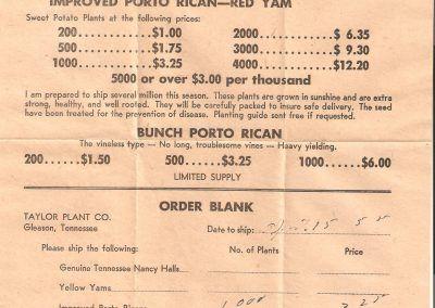 1955 taylor plant farm order blank