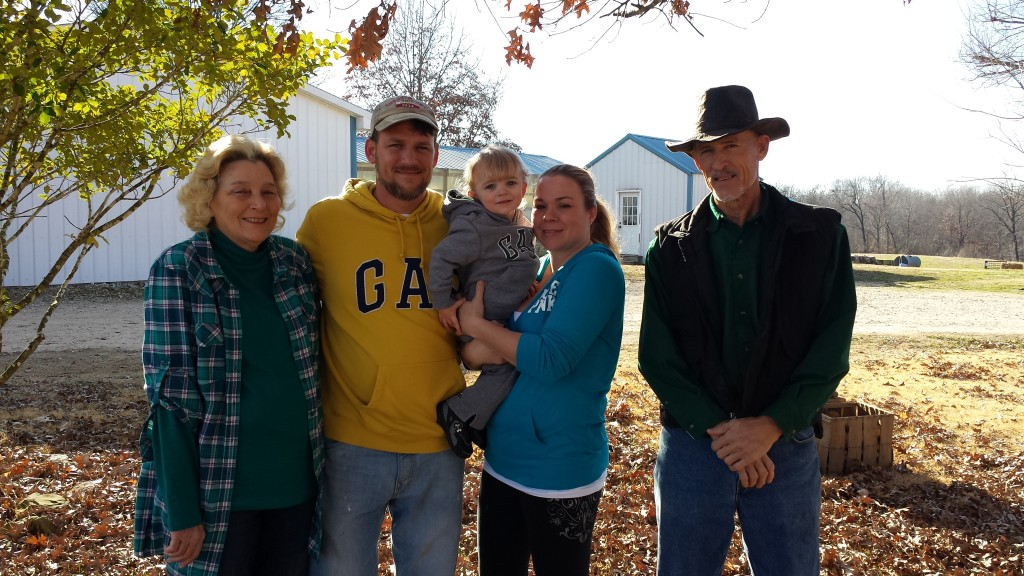 Donna, Our son Jeffery & his wife Danielle, Grandson Collin is in the middle, and George(Vinson Dellinger) on the right.